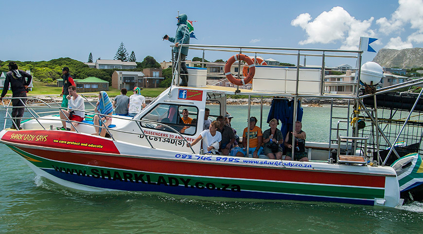 The SharkLady Adventures boat. Max 18 people per boat (Shark Cage Diving)